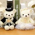 2 шт./лот 20 см каваи 1 пара новый свадебный подарок невеста и жених медведь букет куклы ; плюшевые игрушки мягкий рис куклы