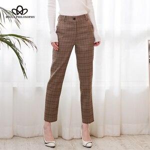 Image 2 - Bella Philosophy Spring Plaid Pants Women Casual High Waist Long Pants Female Zipper Office Lady check Pants Bottoms