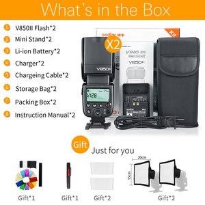 Image 2 - Free DHL 2PCS Godox V850II 2.4G GN60 Wireless Li ion Battery Camera Flash Speedlite for Canon Nikon DSLR Cameras + Gift Kit