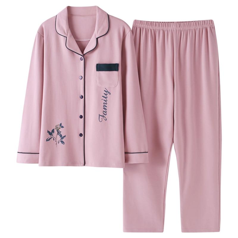 BZEL Cotton Lingerie Clothes Set Women Long Sleeve Nightwear Pink Sleepwear Turn-down Collar Pajama Set Leisure Home Cloth M-3XL