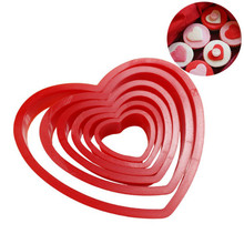TTLIFE 6pcs Heart Shaped Plastic Cookie Cutter Stamp Fondant Cake Cupcake Biscuit Mold Sugar Craft Pastry Baking Decorating Tool