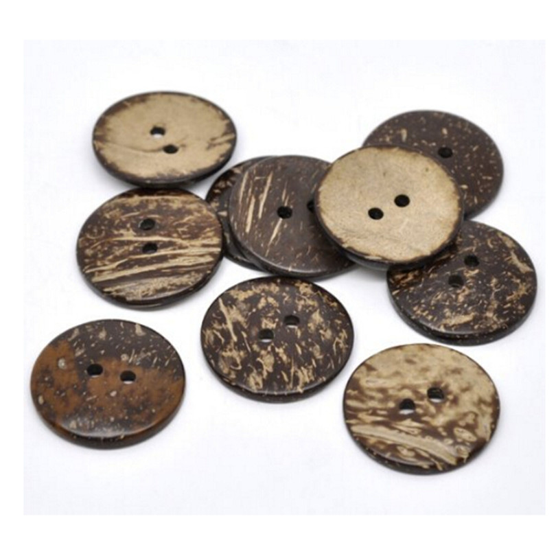 20 Pcs 38mm Brown Coconut Shell 2 Holes Sewing Buttons Scrapbooking , 2 Holes, Scrapbooking Crafts , 7NK112