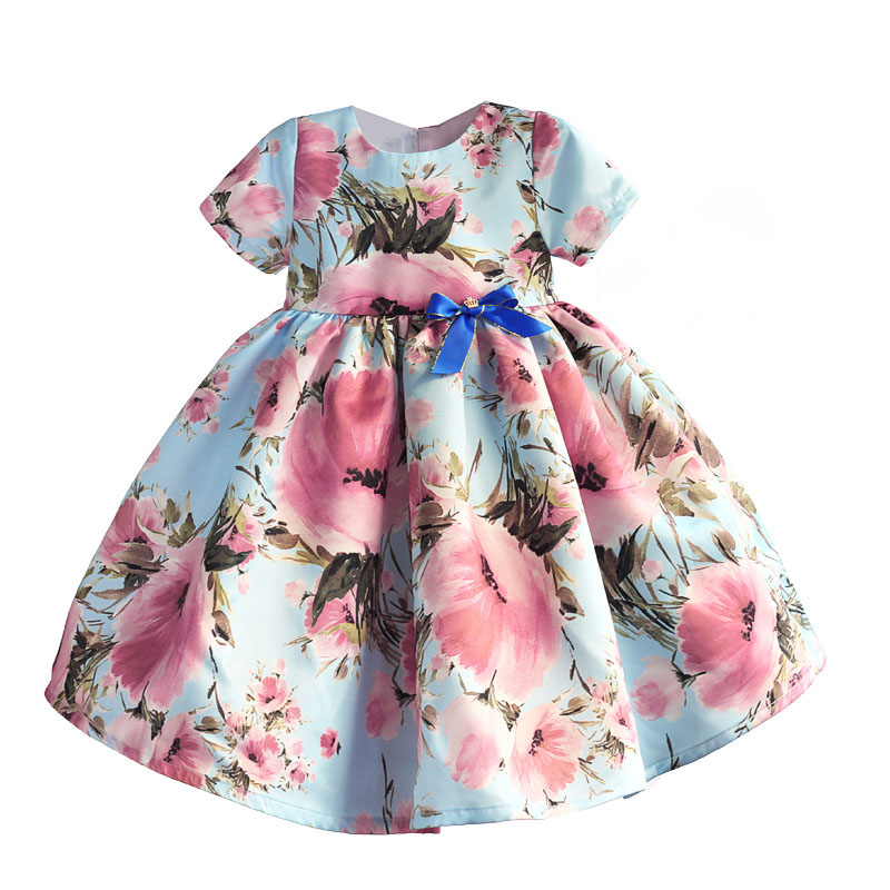 Baby Girl Dress Pink Flower Cotton Children Kids Dresses for Girls Party Birthday Girls Party Dress robe fille enfant 1-6Y children dress princess costume robe fille enfant cotton 2016 brand kids dresses for girls clothes poppy floral baby girl dress