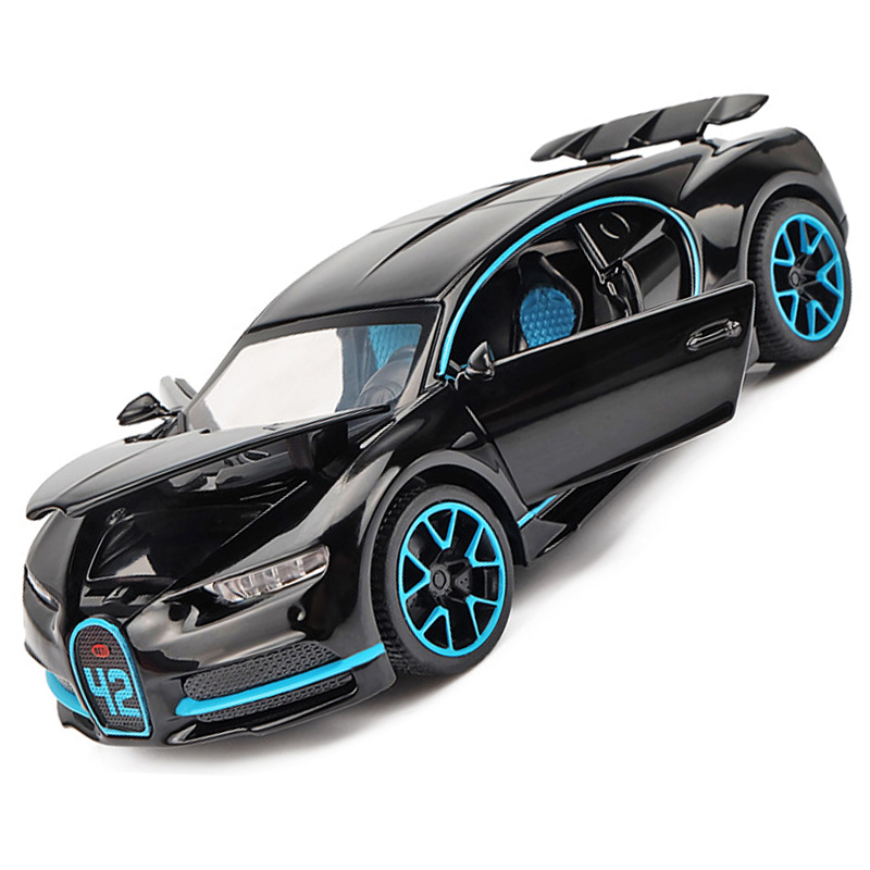 Купить с кэшбэком KIDAMI 1:32 Alloy Toy Car Bugatti Chiron Sound Light Diecasts & Toy Vehicles Collection Gift Pull Back Car Model Toys for Kids