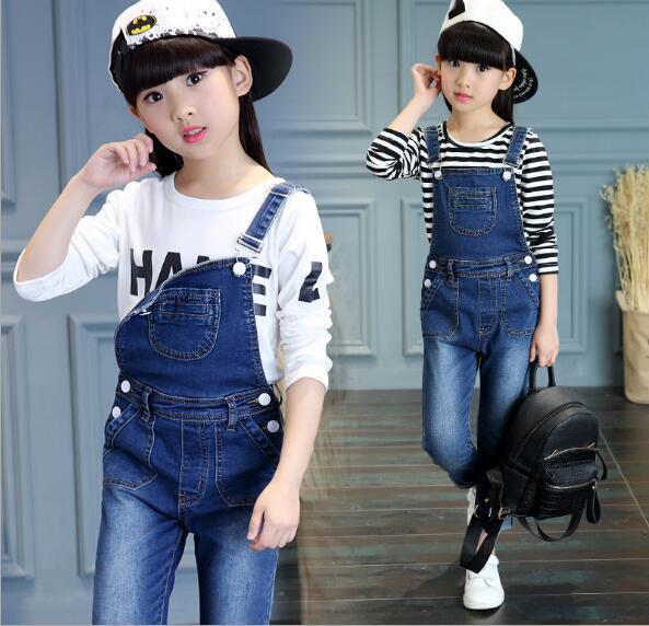 e88244d1e 2019 otoño ropa de los niños niñas conjuntos de manga larga + denim jeans  overoles trajes de niña para Niñas Grandes niños trajes de 2 piezas en  Sistemas de ...