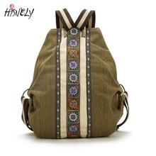 Hisuely Холст Национальный Племенной Этнические Вышитые Цветочные Рюкзаки женская Путешествия Рюкзак Mochila Школа сумка Sac Femme