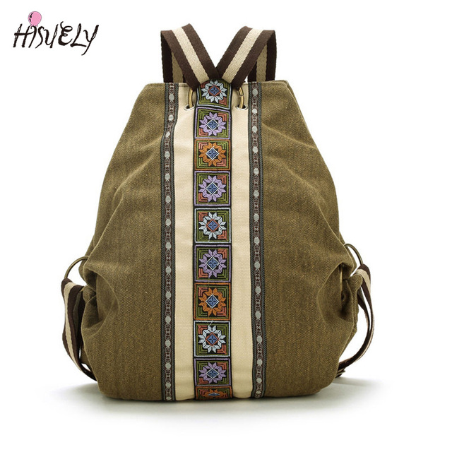 d0ba82b800d1 Hisuely Canvas National Tribal Ethnic Embroidered Floral Backpacks Women s  Travel Rucksack Mochila School Shoulder bag Sac Femme