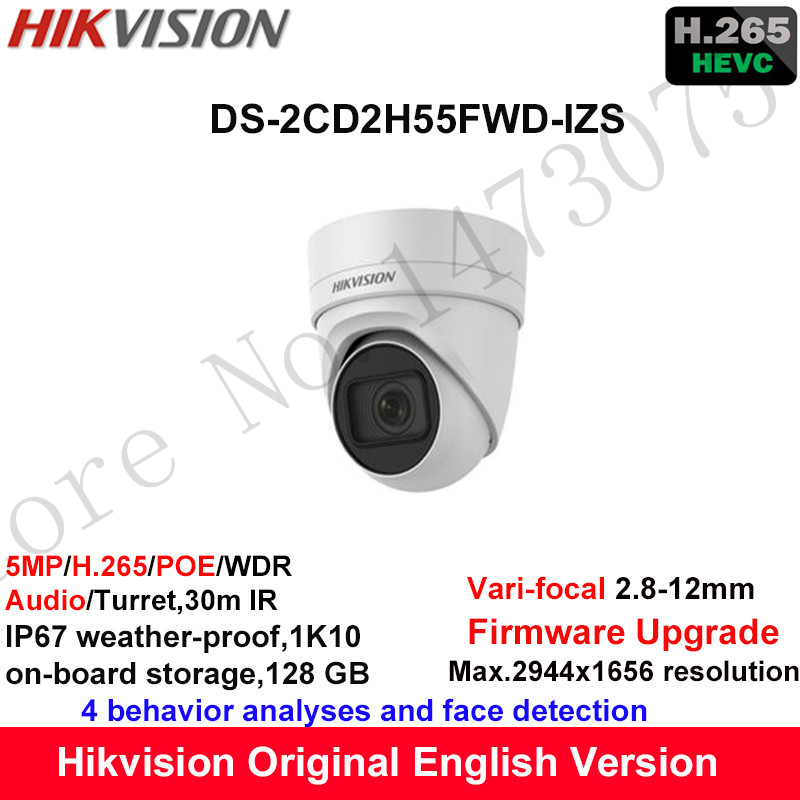 Hikvision 5MP WDR Vari-focal CCTV IP Camera H.265 DS-2CD2H55FWD-IZS Turret Security Camera 2.8-12mm face detection IP67 1K10 видеокамера ip hikvision ds 2cd2642fwd izs цветная