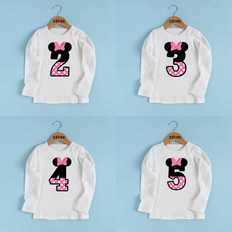 Boys and Girls Happy Birthday Number 1-9 Bow Print T shirt Baby Cute Ear Long Sleeve T-shirt Kids Funny Birthday Present,LKP2416