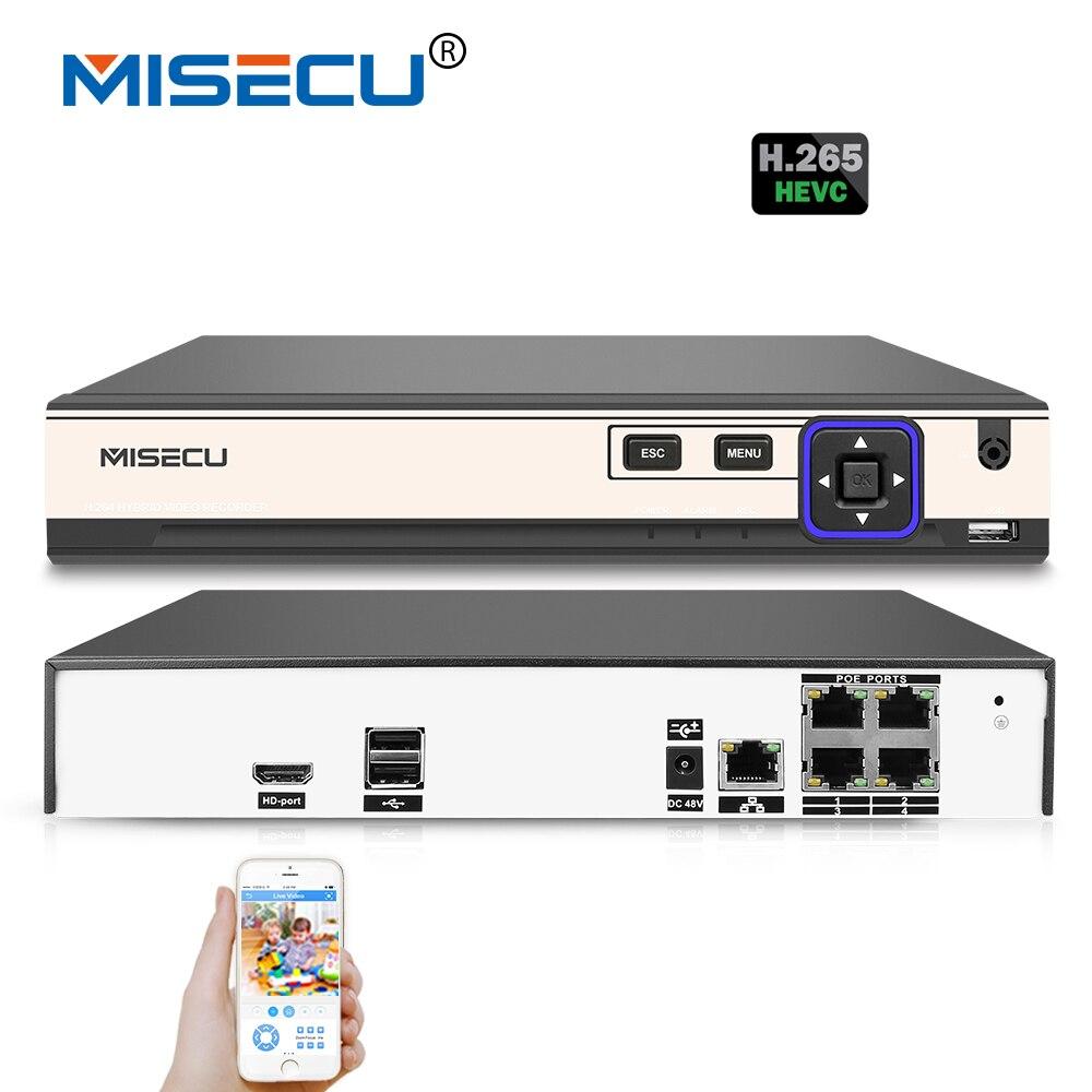 MISECU 48 V POE H.265/H.264 4 Canaux NVR 4*5 M/4*4 M Hi3798M P2P 4 K RS485 IEE802.3af CCTV NVR ONVIF POE Pour H.265 H.264 POE caméra