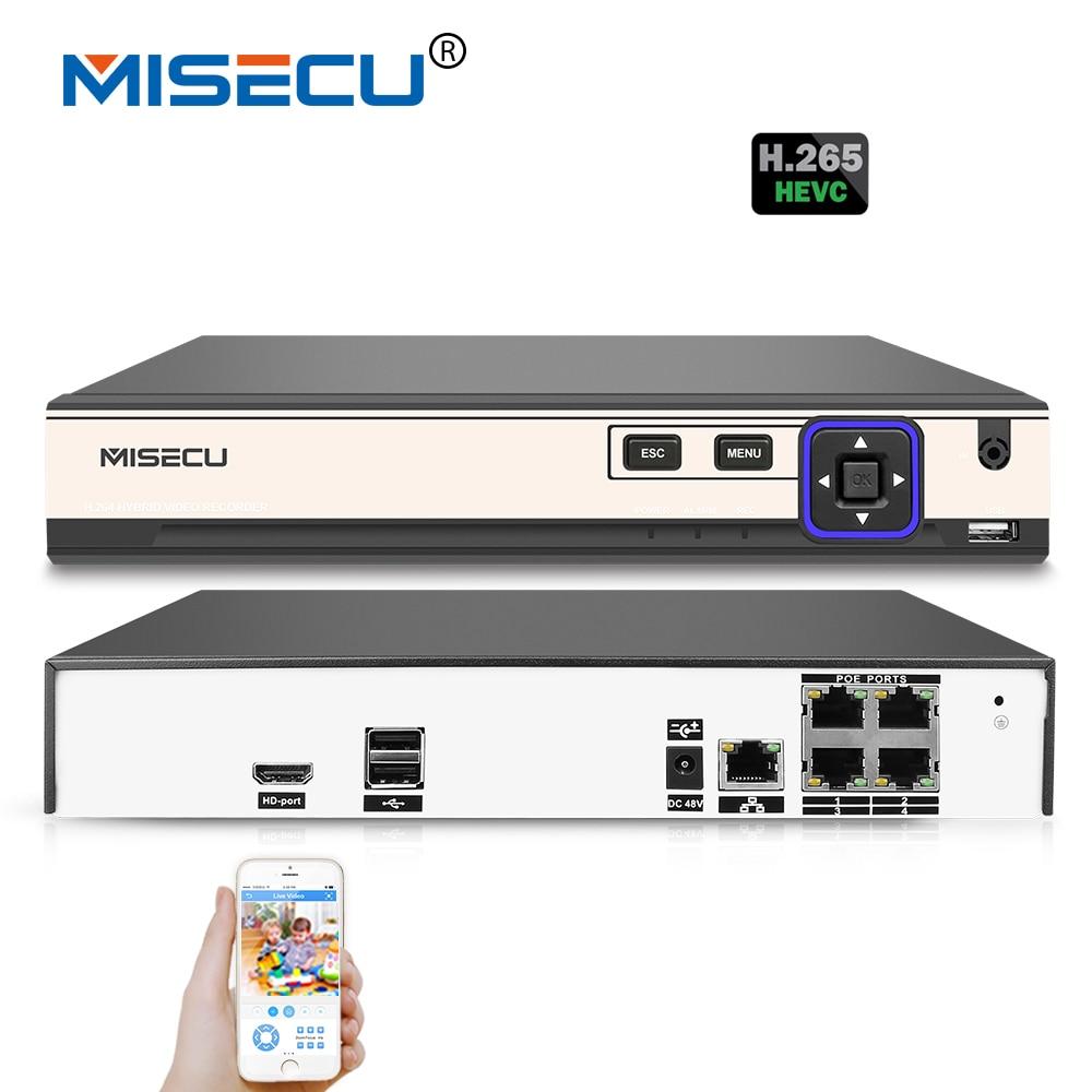 MISECU 48 v POE H.265/H.264 4 Canal NVR 4*5 m/4*4 m Hi3798M p2P 4 k RS485 IEE802.3af CCTV NVR ONVIF POE Pour H.265 H.264 POE Caméra