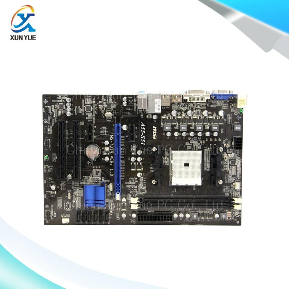 ФОТО MSI A55-S51 Original Used Desktop Motherboard AMD A55  Socket FM1 DDR3 SATA2 USB2.0 Micro ATX