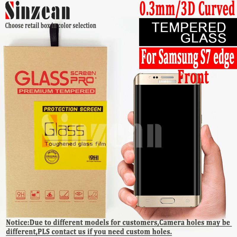 bilder für Sinzean 50 stücke 3D Gebogene vollbild gehärtetem glas Für samsung galaxy S7 rand 3D Gebogene voll gehärtetem glas bildschirm schutz