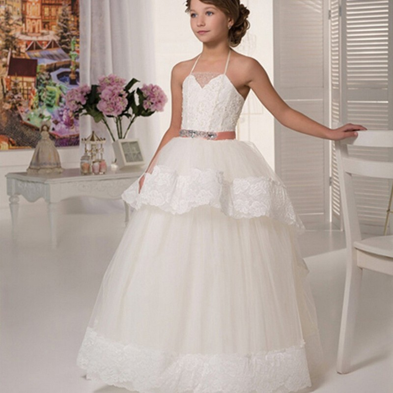 Floor Length Ball Gown Beautiful Girls Pageant Dresses Halter Appliques Sashes First Communion 2015 Discount Flower Girl Dresses lovely new puffy flower girl dresses beaded overskirts floor length first communion dress pageant birthday gown 2017 custom new