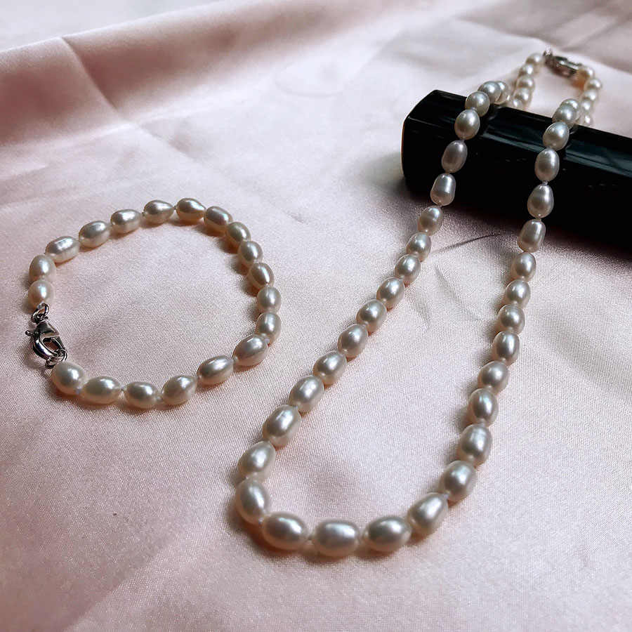 Women White Classic 100% Natural Freshwater Pearl Necklace + Bracelet Set Silver 925 Real Small Pearl Jewelry Sets Wedding