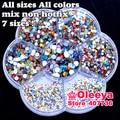 Mix Sizes Mix Colors Non HotFix Rhinestones Nail Art Glitters Flat Back Glass Not Hot Fix Rhinestones About 2600pcs/box Y2783