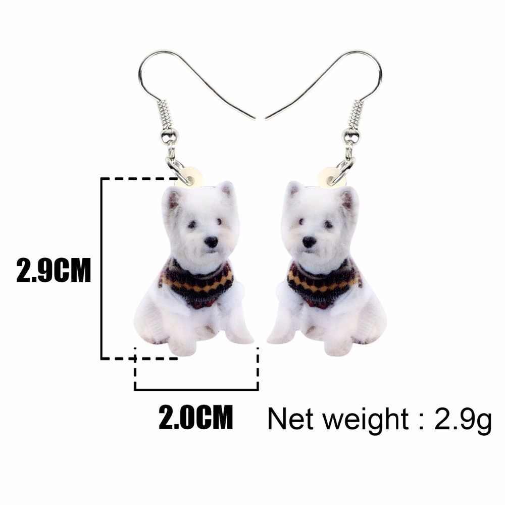 Bonsny Acryl West Highland White Terrier Hund Ohrringe Tropfen Baumeln Nette Mode Tier Schmuck Für Frauen Mädchen Teens Geschenk