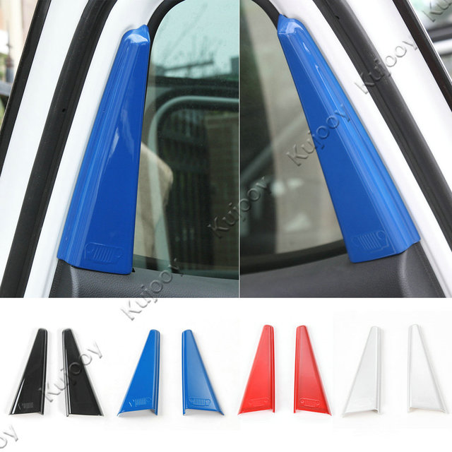 2pcs Red / Blue / Silver / Black ABS Rear Door A pillar Trim Cover Frame Sticker for Jeep Compass 2017+ Car Styling Accessories