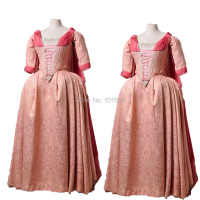 Tailored!Luxs Gold 18th Century pink Duchess Queen Marie Antoinette Court Victorian Gown Ball Reenactment dresses HL 204
