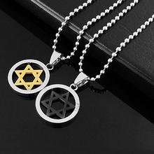 Brilliant quality Unisex Men Women Silver Jewish Star Stainless Steel Pendant Necklace 5CH6