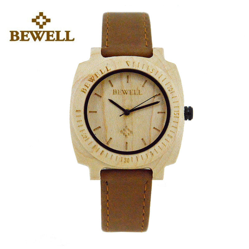 BEWELL Ladies Watch Wooden Dial Handmade Top Brand Design Natural Wooden Watch Casual Strap Ladies Fashion Lightweight 098B