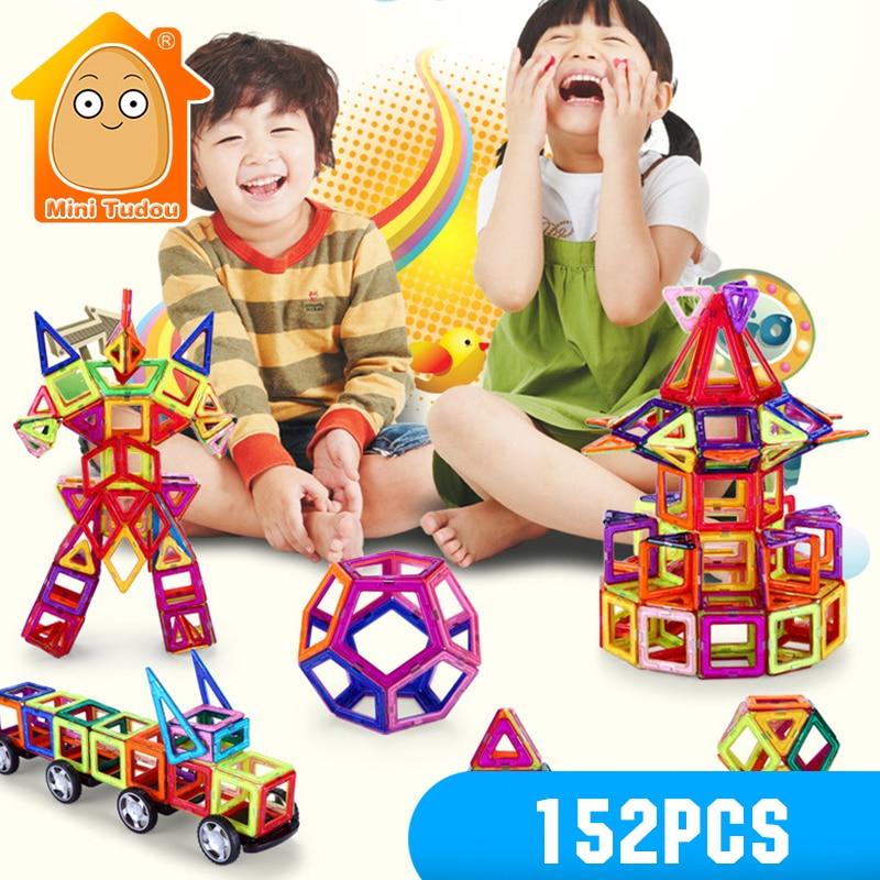 New Magnetic Blocks 152PCS Magnetic Building Constructor Toy Enlighten Bricks Kids Educational Toys Game For Children