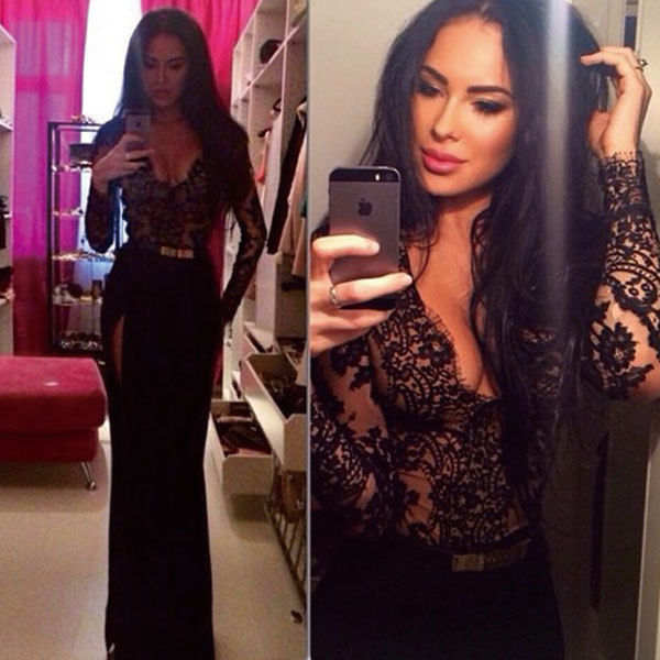 a5afee8e39ad 2017 Hot Sale Black Lace Bodice Long Sleeves Deep V Neck Sexy Evening Dress  Side Slit