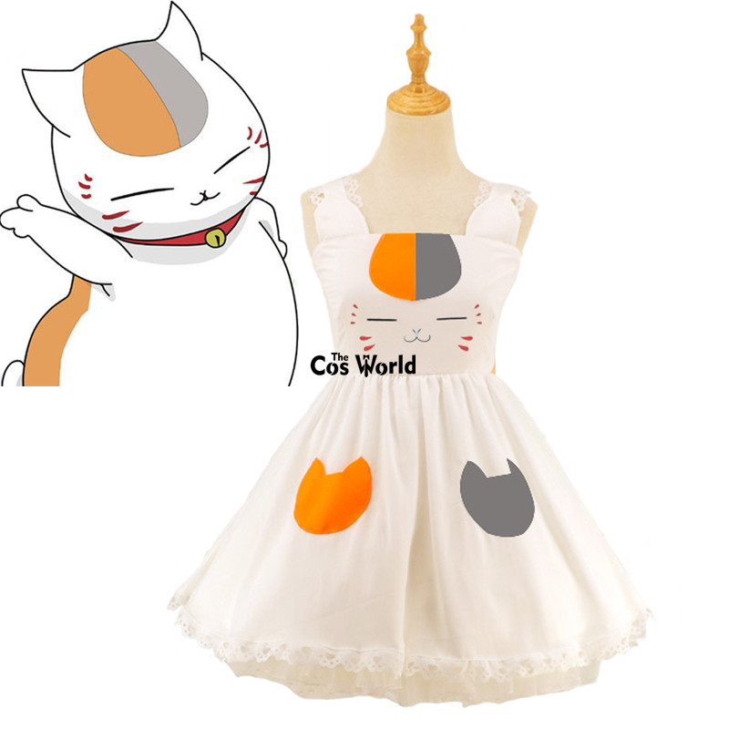 Natsume Yuujinchou Natsume's Book of Friends Nyanko sensei Lolita Maid Slip Tee Dress Uniform Outfit Anime Cosplay Costumes