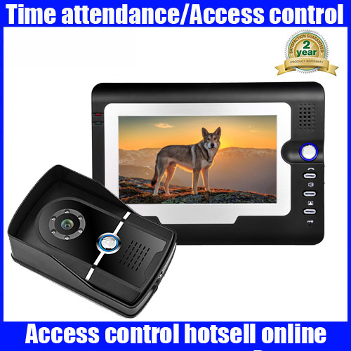 7 Inch TFT Monitor LCD Color Video Door Phone Intercom System With SD Card Video Recording Waterproof Night Vision Cameras tmezon 4 inch tft color monitor 1200tvl camera video door phone intercom security speaker system waterproof ir night vision 1v1
