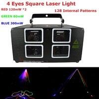 Быстрая доставка 4 объектив лазерные лучи 620 МВт RGB 3 цвета DMX лазерный проектор с 128 видов моделей для внутреннего новогоднее украшение