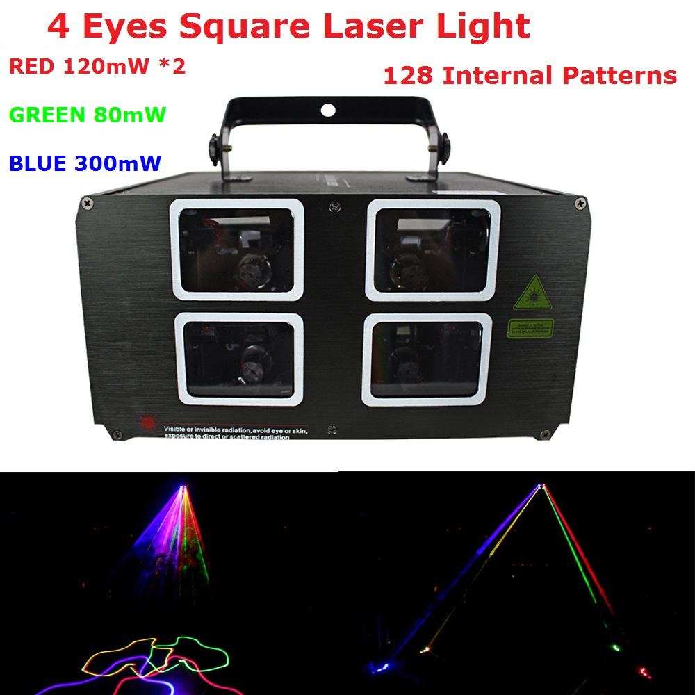 Fast Ship 4 Lens Laser Lights 620mW RGB 3 Colors DMX Laser Projector With 128 Kinds of Patterns For Indoor Christmas Decoration