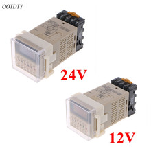 цены OOTDTY AC/DC 12/24V Multifunction Digital Timer Relay On Delay 8 Pins SPDT DH48S-S Repeat Cycle