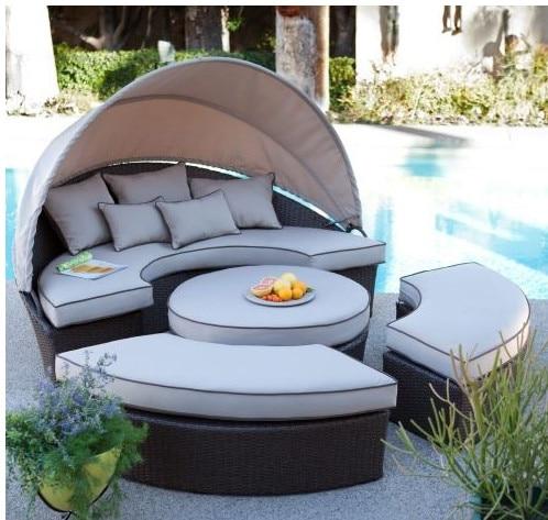 Rattan Sunbed Outdoor Furniture Waterproof Sun Bed Outdoor