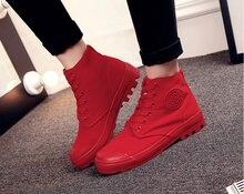 Скидка! Новая Звезда Моды Женщины высокого верха обуви холст Женский приливная ковбойские ботинки осень досуг обувь дышащий Красный черный весь Белый
