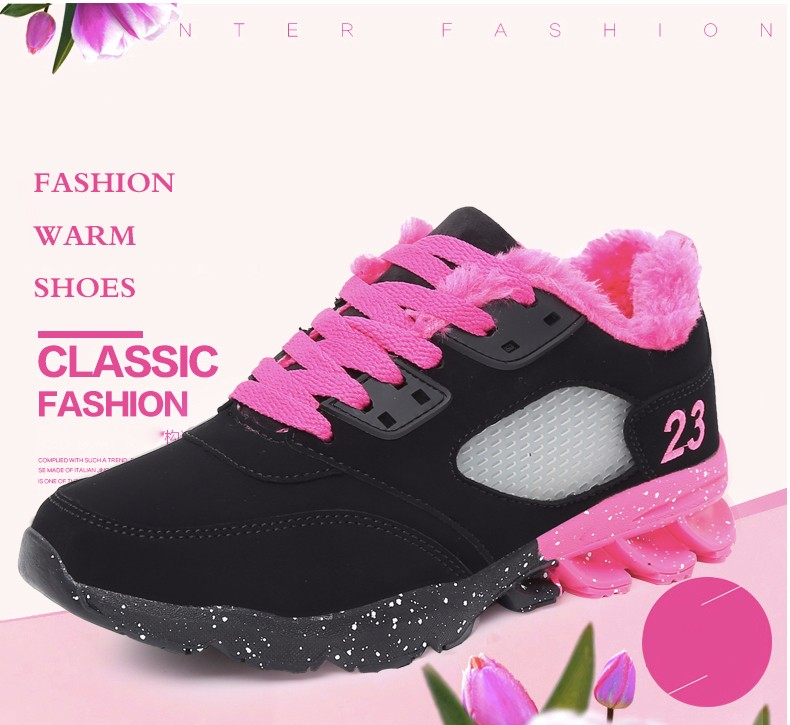 2017 Fashion Winter Women Casual Shoes Plush Warm Sport Low Top Women Shoes Black Pink Breathable Lace Up Woman Trainers YD165 (2)