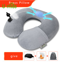 U-miss Press-type Inflatable Cervical Air Travel Neck Pillow U-shaped Airplane Portable 4pieces Crystal Velvet Pillow