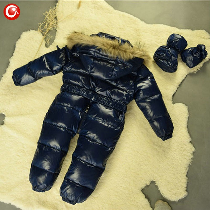 6M-4T Baby Girls White  Duck Winter Down Coat +Down Gloves Clothes Kid Boys Ski Snow Thick Hooded Warm Jacket Clothing Snowsuit (12)