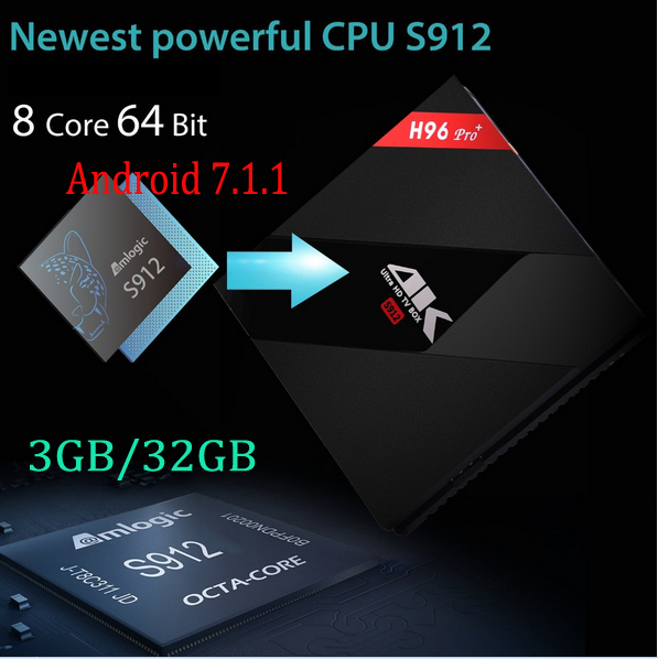 10 UNIDS/LOTE H96 PRO + Android 7.1 TV Box Amlogic S912 64bit Octa Core 3G/32G W
