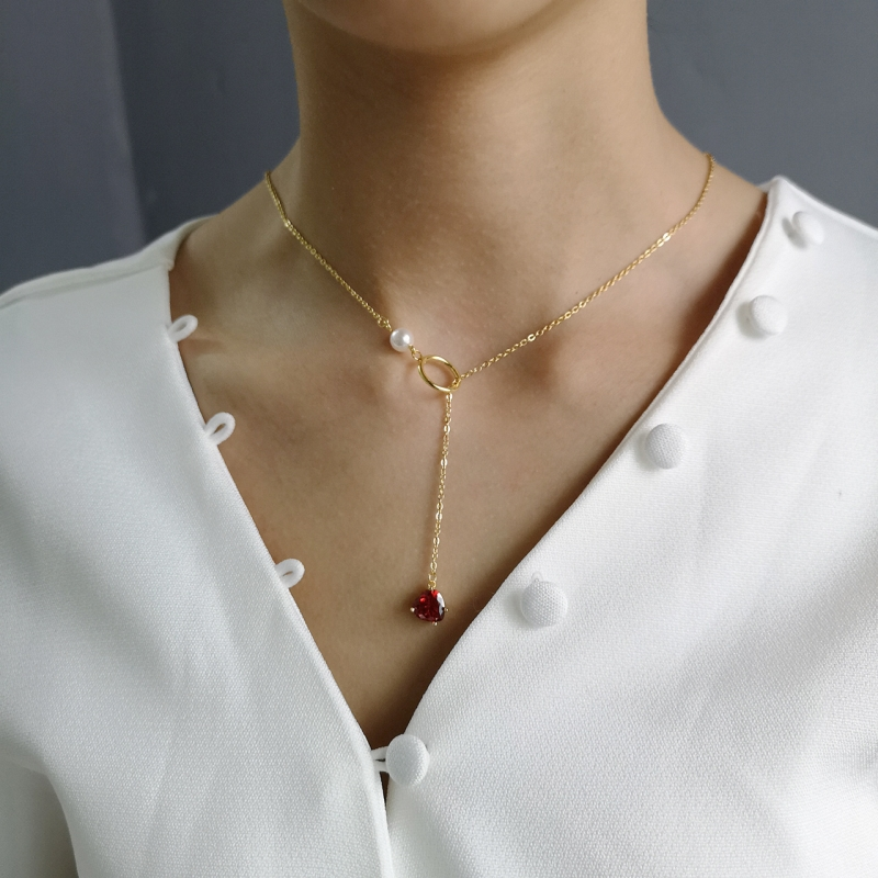 925 Sterling Silver 18k Gold Necklace for Women With Pearl Y Drop Necklace Heart Drop Pendant Red Ruby CZ Zircon Lariat Necklace-in Necklaces from Jewelry & Accessories