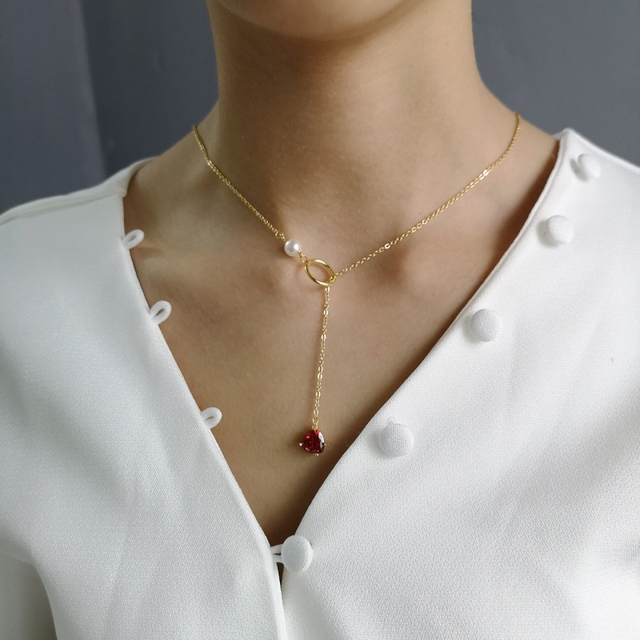 925 Sterling Silver 18k Gold Necklace for Women With Pearl Y Drop Necklace Heart Drop Pendant Red Ruby CZ Zircon Lariat Necklace