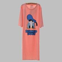 New 2016 Long Nighties For Women Loose Casual Sleepshirts Ladies Sleepwear Night Dress Cartoon Cotton Nightgown Female A87