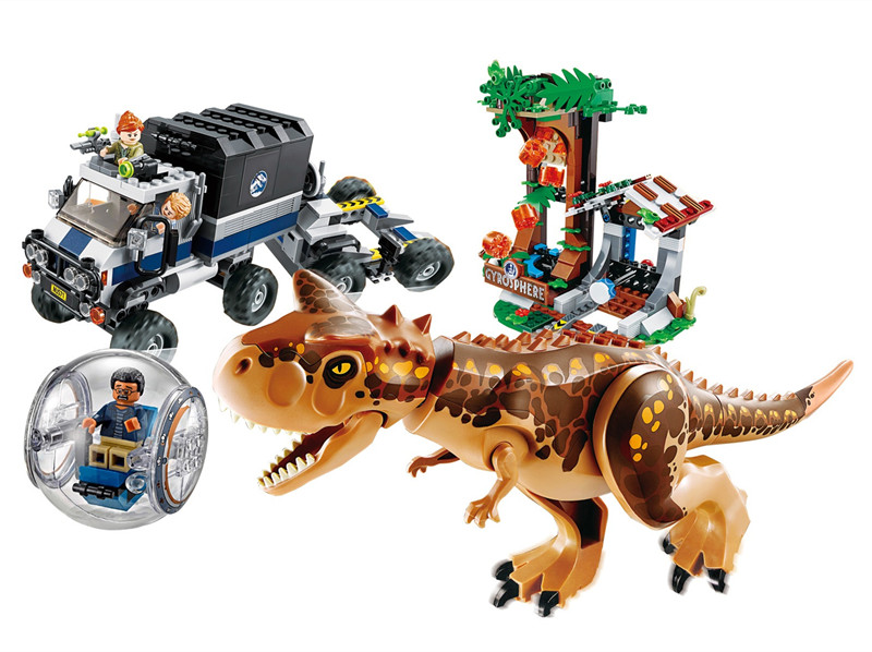 New Jurassic World 2 Carnotaurus Gyrosphere Escape Building Block Bricks Toys Compatible With Legoings Dinosaur 75929