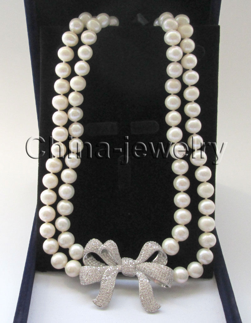 P7345-2row 19-20 9-10mm white round freshwater pearl necklace - Bowknot pendantP7345-2row 19-20 9-10mm white round freshwater pearl necklace - Bowknot pendant