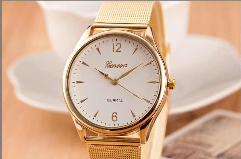 Susenstone 2018 haut à la mode marque femme horloge de luxe femmes montre classique or genève Quartz en acier inoxydable montre-bracelet