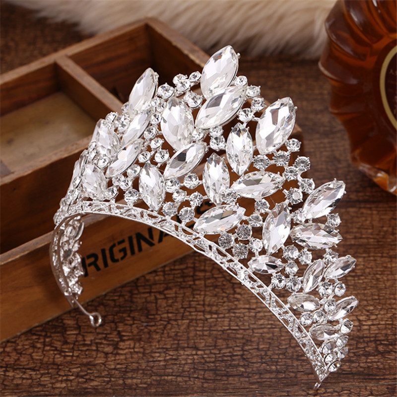 Joyme New Baroque Luxury Bridal Accessories Full Crystal Big Crown Wedding Party Prom King Queen Tiaras and Crowns Hair Jewelry queen and king style party cosplay headwears golden 2 pcs
