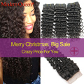 Queen Hair Brazilian Deep Wave With Closure 3 Bundles Deep Wave Brazilian Virgin Hair with Closure Human Hair Weft With Closure