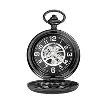 2018 New Vintage Watches Skeleton Black Mechanical Pocket Watch With Chain Men Necklace Pocket & Fob Watches for wedding gift все цены