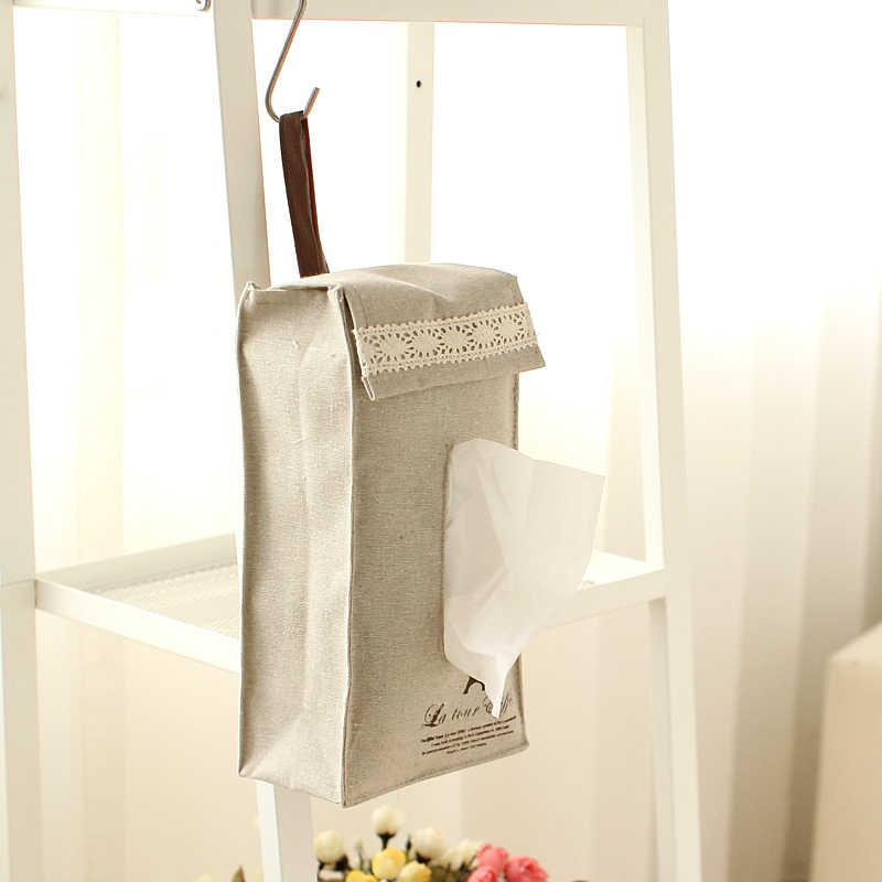 Novo Pano de Linho Estilo Rural Titular caixa Do Tecido Carro Caixa de Tecido titular Suporte de Toalha de Papel Pendurado Saco de Tecido Caixa de Papel Higiênico Roll