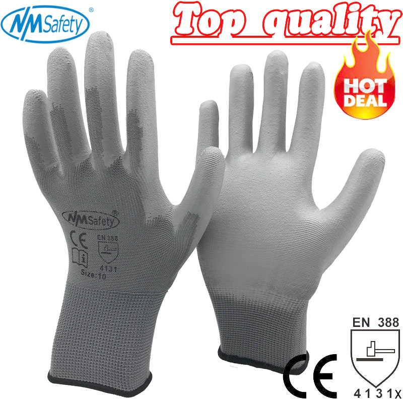 NMSafety 12 Pairs work gloves for PU palm coating safety glove(China)