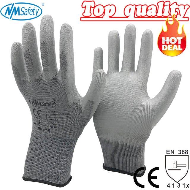 NMSafety оптовая продажа, 12 пар носочков на работу Перчатки для с ПУ-покрытием ладонной части с латексным покрытием перчатки